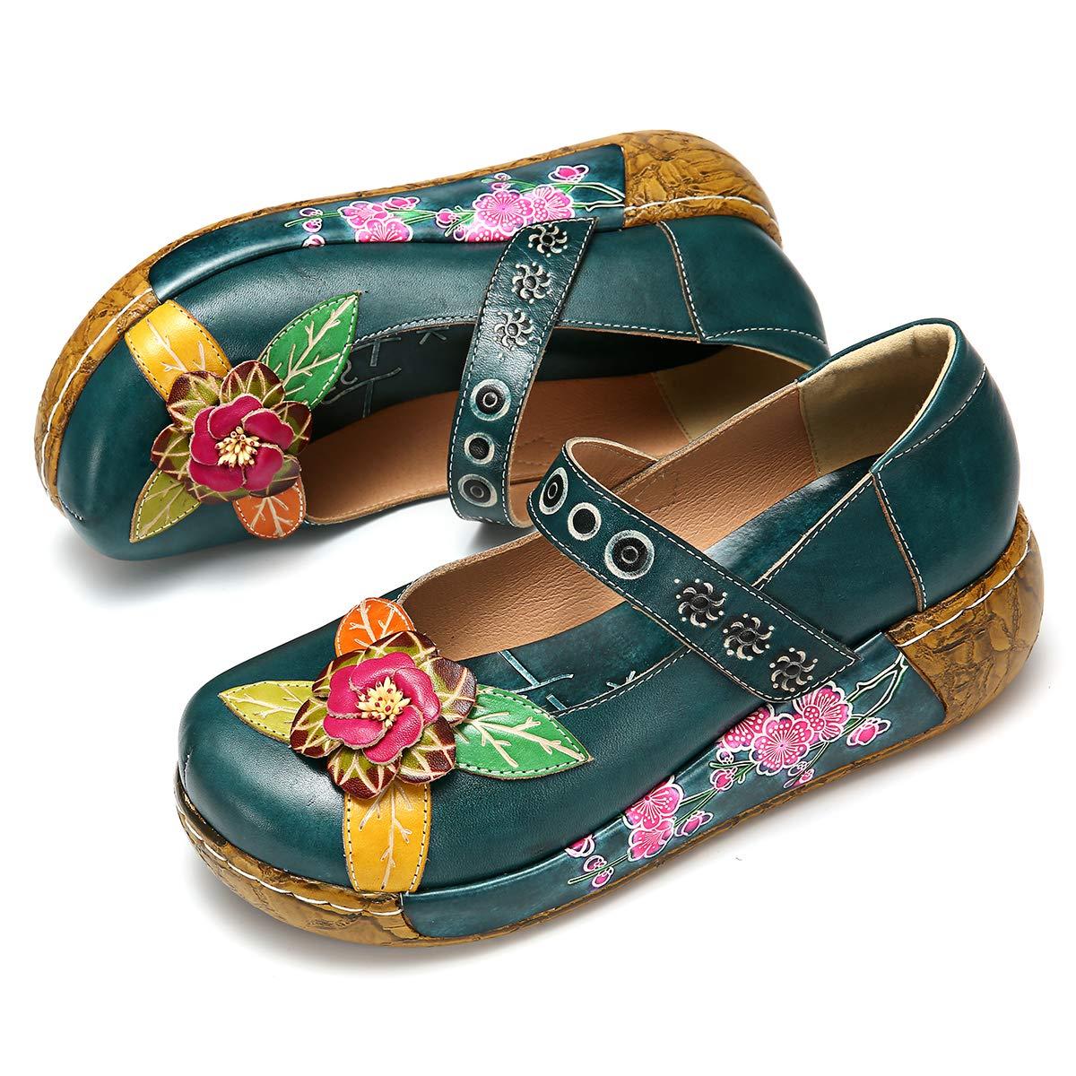 b753d8f8516c4 gracosy Womens Platform Sandals Shoes for Spring Summer Leather Velcro Slip  ON Mule Clogs Casual Comfort Wedged Slides Sandals Vintage Handmade Flower  ...