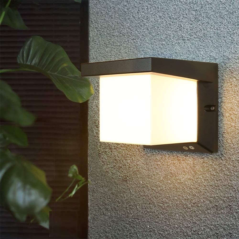Outdoor Wall Patio Lights Led Wall Sconces Waterproof Lighting Fixture 3-Color-Changeable Wall Fixture Warm White Cold White and Nature White Color(Black)