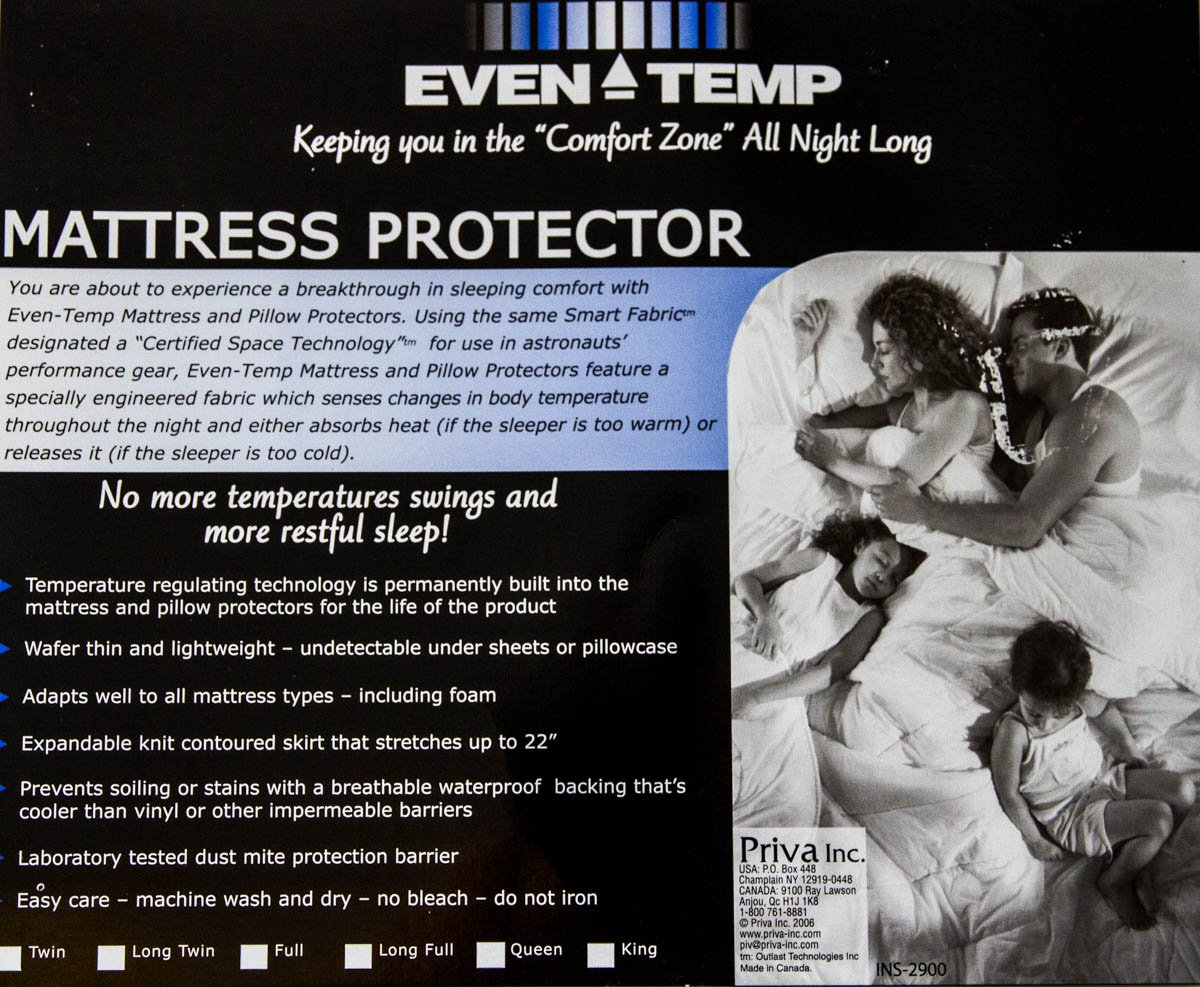 Even Temperature Waterproof Mattress Protector with Certified Space Technology to Stay Cool when Too Warm and Stay Warm when Too Cool (King)