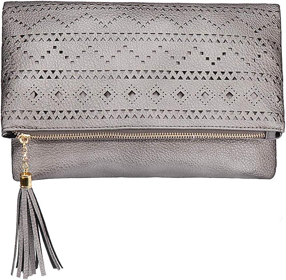 Tassel Foldover Hollow Clutch Purse Evening Bag Women Handbag