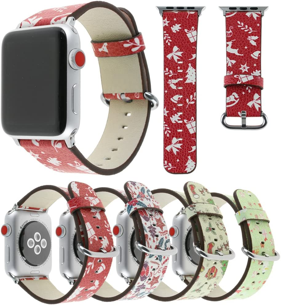 Tearoke Christmas Replacement iwatch Band Printing Leather Apple Watch Band with Silver 38mm/42mm Tan