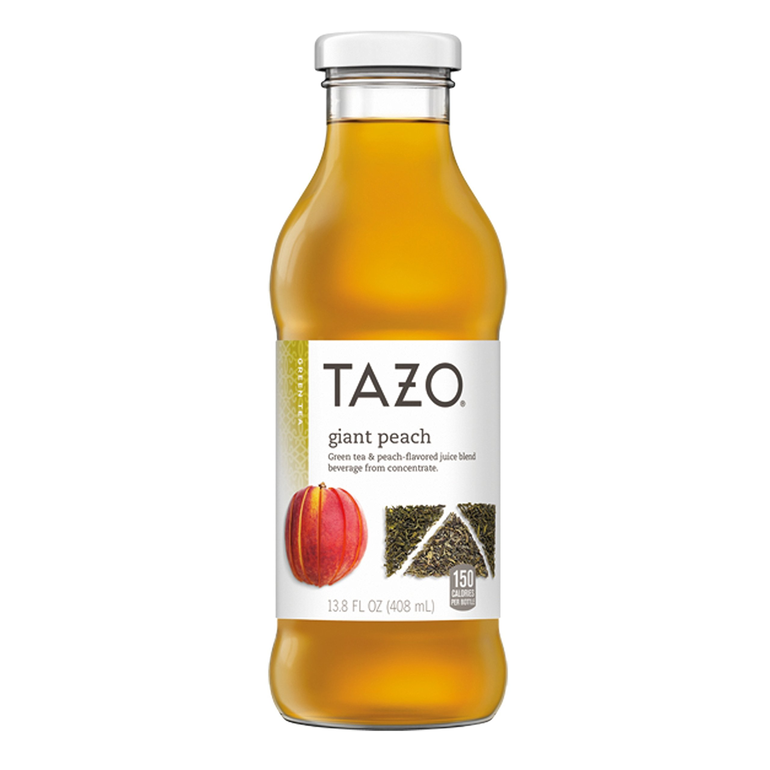 Tazo Iced Tea, Giant Peach, 13.8 Ounce Glass Bottles, 8 Pack
