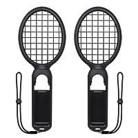 Tennis Racket for Nintendo Switch, FYOUNG Somatosensory Joy Con Gaming Controller Grip Tennis Rackets for Mario Tennis Aces, Nintendo Switch Gameplay 2 Pack (Black)