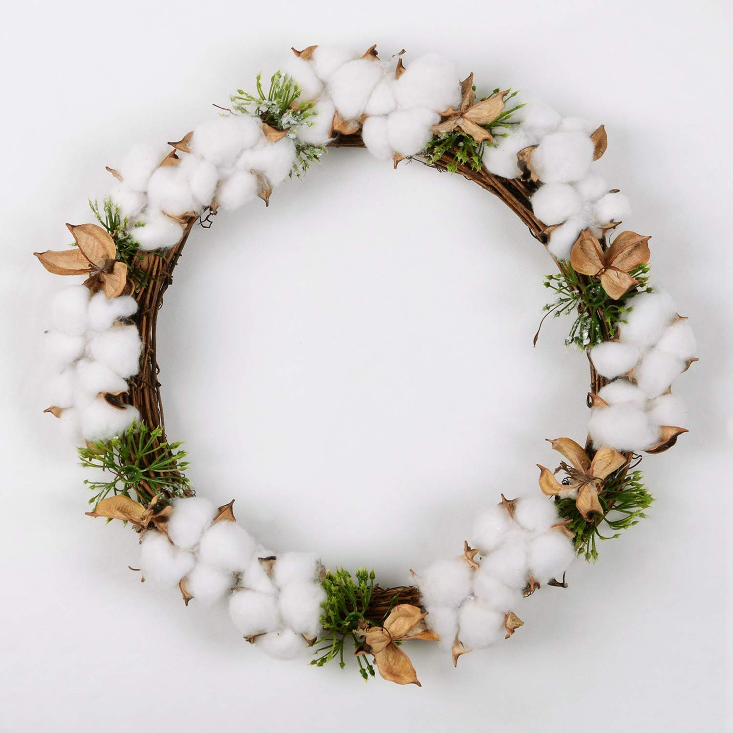 Lvydec Real Cotton Wreath, 13.5 Inch Decorative Wreath with Full and Empty Cotton Bolls for Front Door Farmhouse Wedding Centerpiece