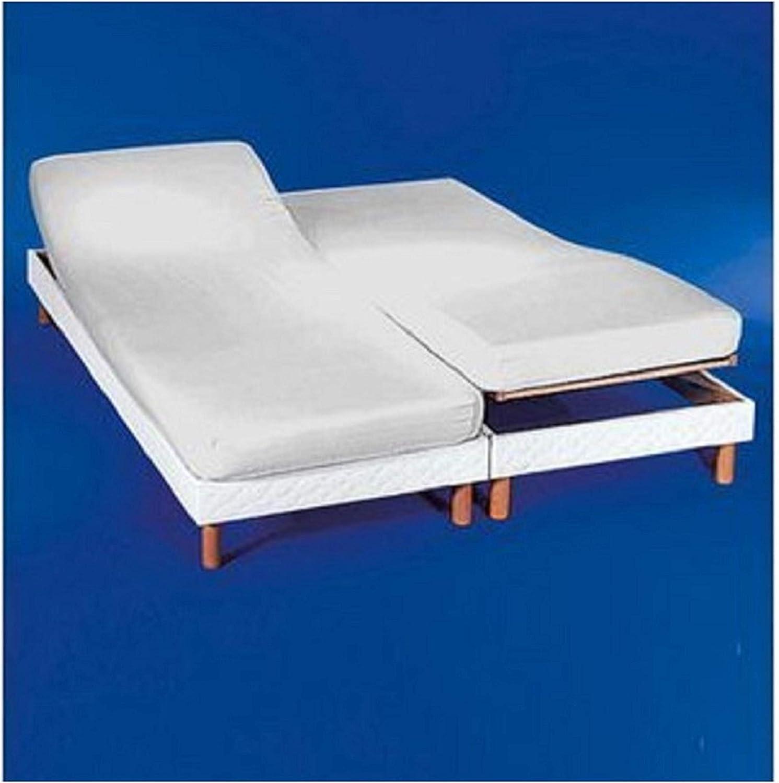 COTTON ART. Sábana Bajera Ajustable para Camas Dobles articuladas 160 x 190/200. Color Blanco. Medida de Cada Cama 80x190/200. Disponible en Color Crudo.