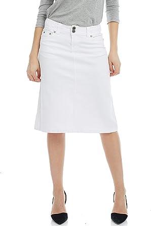 Amazon Com Esteez Falda Vaquera Para Mujer Pantalones De Mezclilla Relajados A Line Modest Debajo De La Rodilla Opaco Sydney Clothing