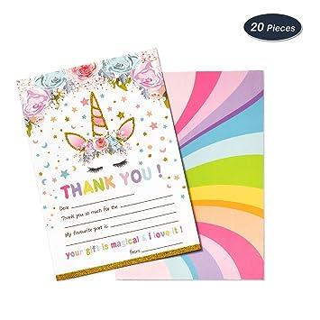 AMZTM Tarjeta de Agradecimiento Thank You Note Card para la Fiesta de Cumpleaños Baby Shower Decoraciones Accesorios de Unicornio Arcoiris para Niños ...