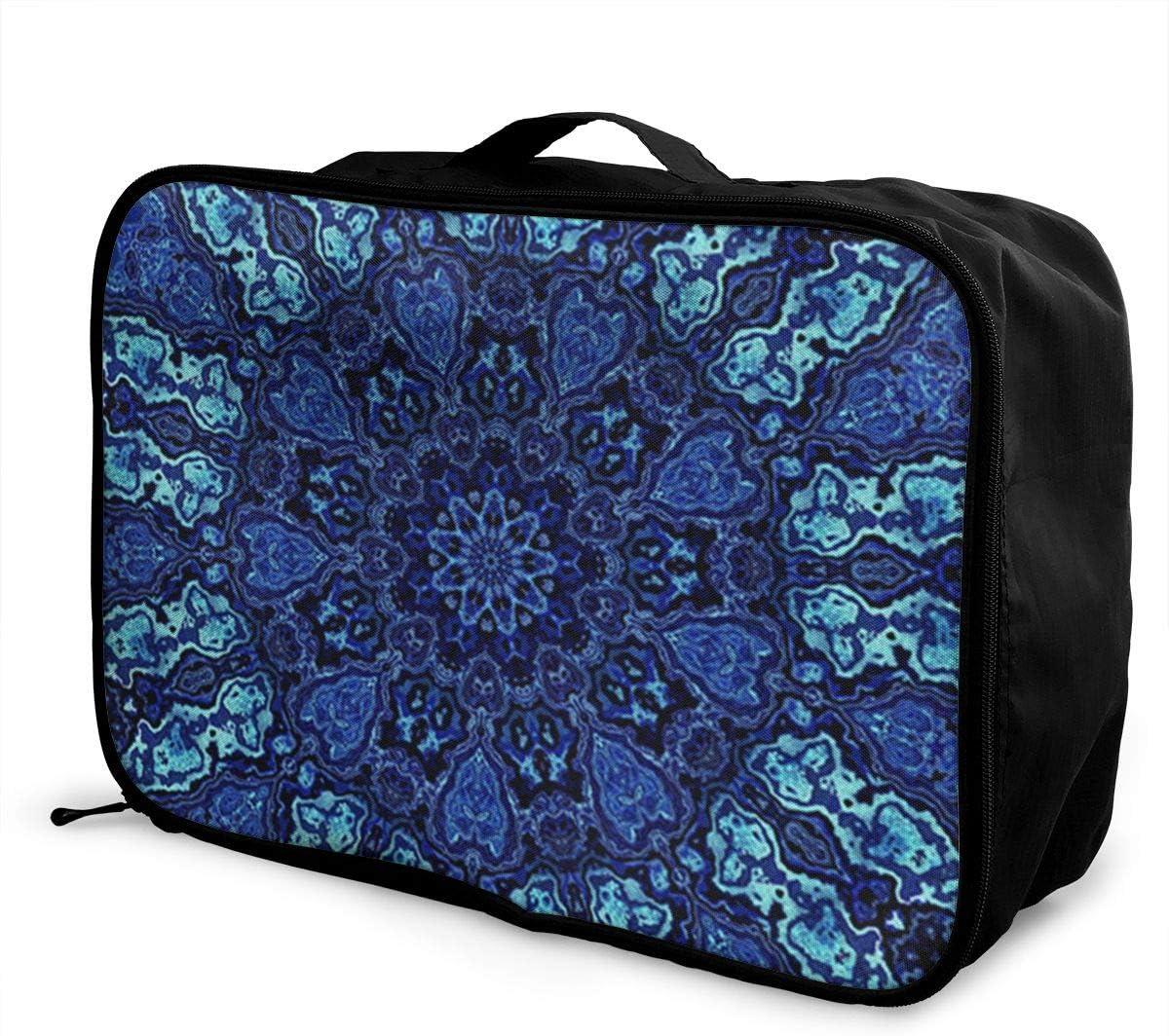 Blue-mandala Travel Carry-on Luggage Weekender Bag Overnight Tote Flight Duffel In Trolley Handle