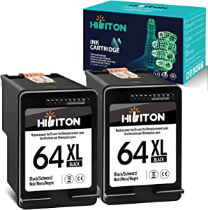 HibiTon Remanufactured Ink Cartridge Replacement for HP 64XL 64 XL Work with Envy Photo 7800 7858 7155 7855 6255 6252 7158 7164 6222 7120 7130 Tango X Smart Home Wireless Printer (Black) 2 Pack