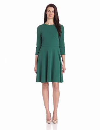 Gabby Skye Women's Elbow Sleeve Solid Flare Dress, Hunter, 8