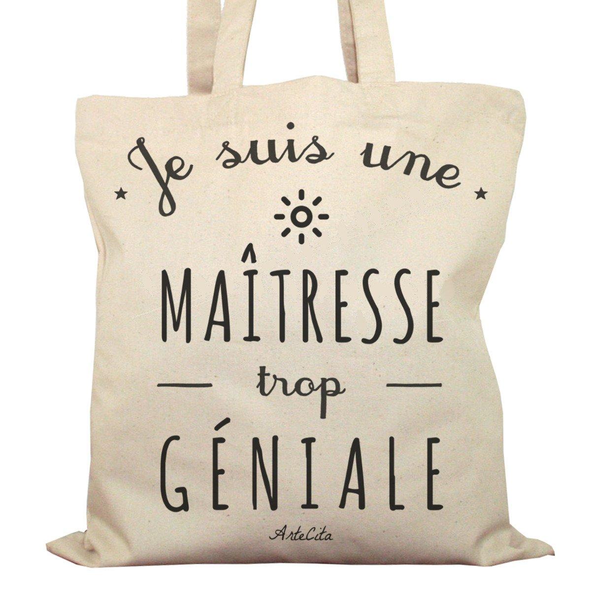 Tote Bag Imprimé Ecru - Toile en coton bio - Je suis une Maîtresse trop géniale