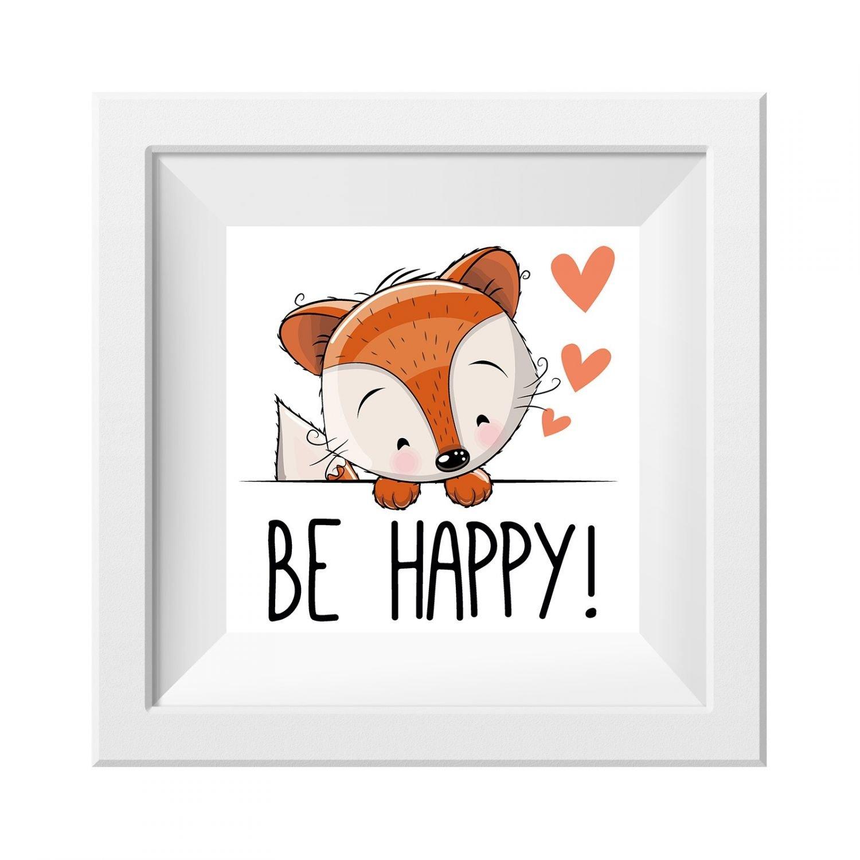 Ohne Rahmen nikima Sch/önes f/ür Kinder 013 Kinderzimmer Bild Be Happy Poster Plakat Quadratisch 20 x 20 cm