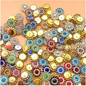 Primst 200pcs 14MM Flower Shape Claw Cup Sew on Rhinestone,Crystal Glass Buttons for Accessory,Furniture,Earring,Garment Apparel and DIY Accessories Decoration