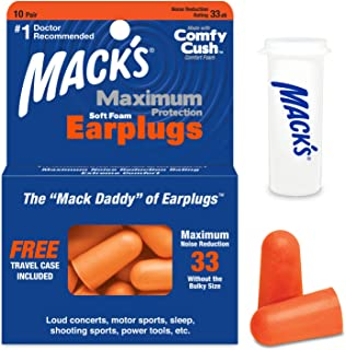 product image for Mack's Maximum Protection Soft Foam Earplugs – 10 Pair, 33 dB Highest NRR – Comfortable Ear Plugs for Sleeping, Snoring, Loud Concerts, Motorcycles and Power Tools