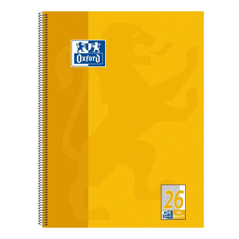 A4+ 90 g//m/²Optik Paper 80 Blatt 20er-Pack Oxford 100050356 Collegeblock kariert//wei/ßer Rand gelb