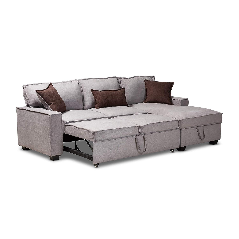 Groovy Amazon Com Baxton Studio 157 9567 Amz Sectional Sofa Gray Machost Co Dining Chair Design Ideas Machostcouk
