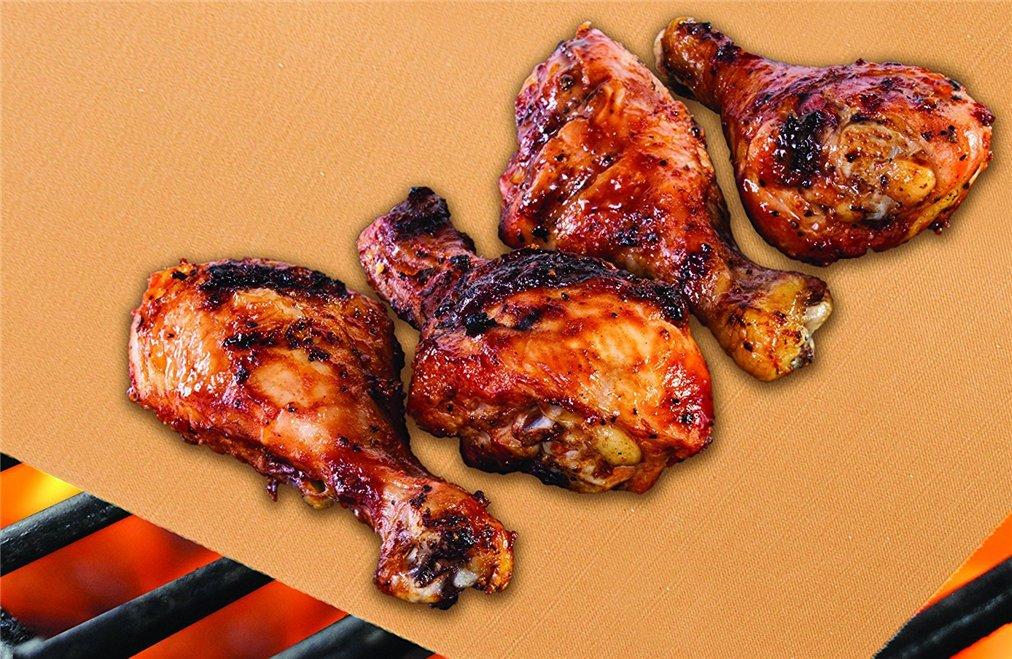 Ramato Holzsammlung Set di 3 Tappetino Antiaderenti Massima qualit/à per Stuoie Grigliata Riutilizzabili Frutti di Mare Durevole Resistente Calore Fogli Barbecue per grigliate di Carne Verdure