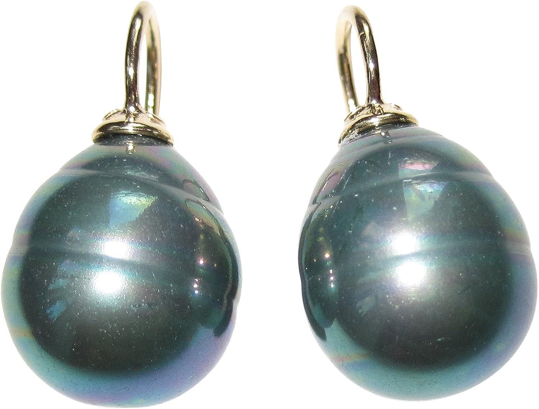 Gris de verdes pendientes de perlas pendientes de colgador barroco de perlas cristal Asa de plata de ley dorado Designer Heide Heinz Dorff Prime