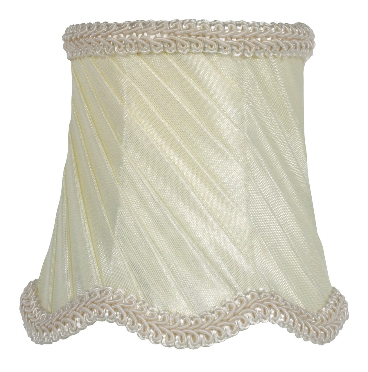 Upgradelights 3 Inch Drum Clip On Chandelier Lamp Shade in Eggshell Silk with Pleated Swirl Embellishment