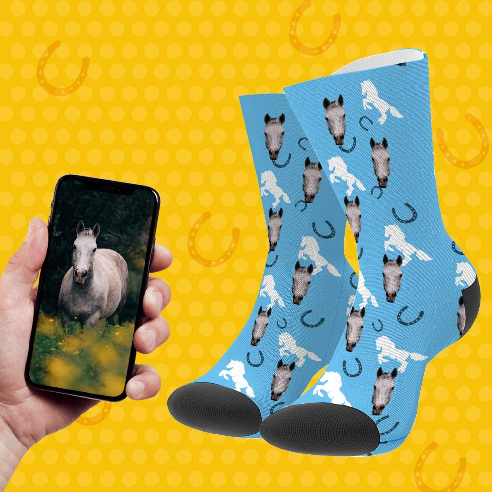 besonderes Geschenk f/ür Frauen M/änner Freunde Socken mit Foto VEELU Personalisierte Foto Socken lustige l/ässige Socken Mein Pferd Socken Lange f/ür Erwachsene Damen Herren M/ädchen