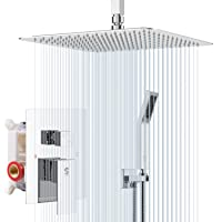 SR SUN RISE SRSH-C1003 Ceiling Mount Bathroom Luxury Rain Mixer Shower Combo Set Rainfall Shower Head System 10 Inch Polished Chrome (Contain Shower Faucet Rough-in Valve Body and Trim