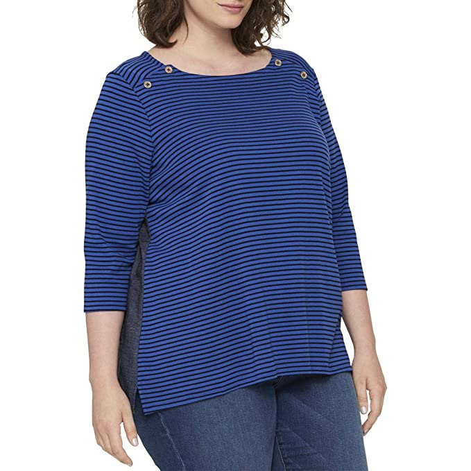 ba2c5bb4 Image Unavailable. Image not available for. Color: Tommy Hilfiger Womens  Plus Mixed Media Striped Knit Top ...