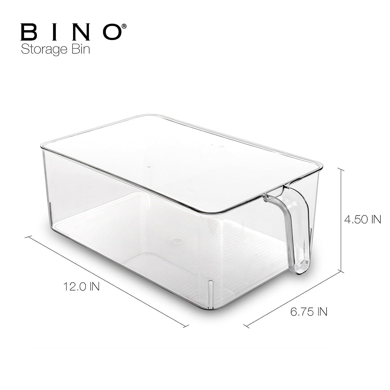 Freezer BINO Refrigerator Clear Plastic Storage Bins Refrigerator Organizer Bins Fridge Organizer Pantry Organizer Pantry Storage Kitchen Pantry Cabinet Organizer Plastic Bin with Handle Medium 12037-CLR