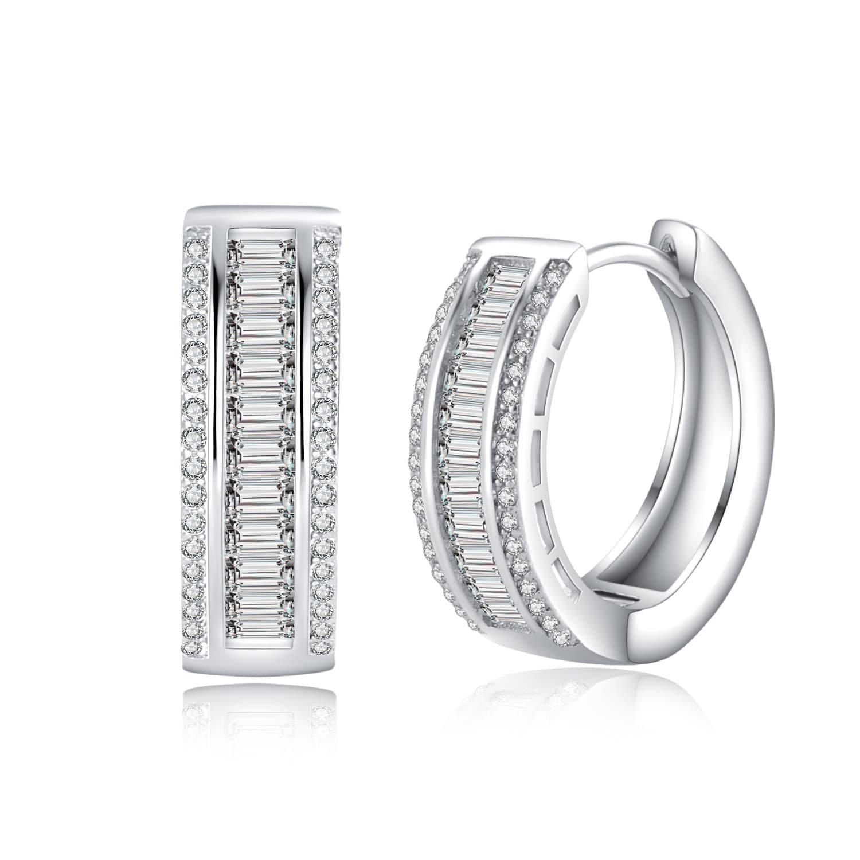 Wealthmao Hoop Earrings Hypoallergenic 18K White Gold Plating CZ Rounded Huggie Piercing Earrings for Women Girls 0.81'' Diameter