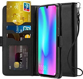 new arrival b2ab1 133fd Ferilinso Case for Honor 10 Lite, Elegant Genuine Real Leather with ID  Gredit Card Slots Holder Flip Cover Stand Magnetic Closure Case (Black)