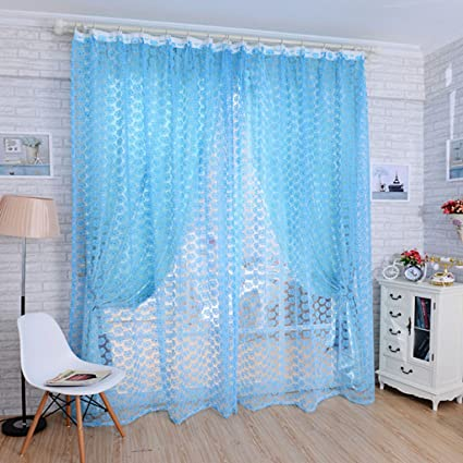 Aspiredeal Elegant Sheer Valance Tulle Voile Window Door Wall Home Rose Pattern Curtain Blue