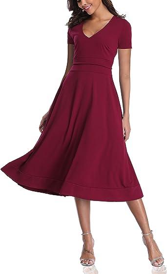Owin Damska Kleid mittellang und Ärmel Cocktailkleid Abendkleid mit V-Ausschnitt Gr. Large, 1 Rotwein.: Odzież