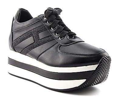 03d9a0d570b ShoBeautiful Women Casual Platform Sneakers Outdoor Thick-Soled Flat Sports  Shoes PU PY02 Black 6