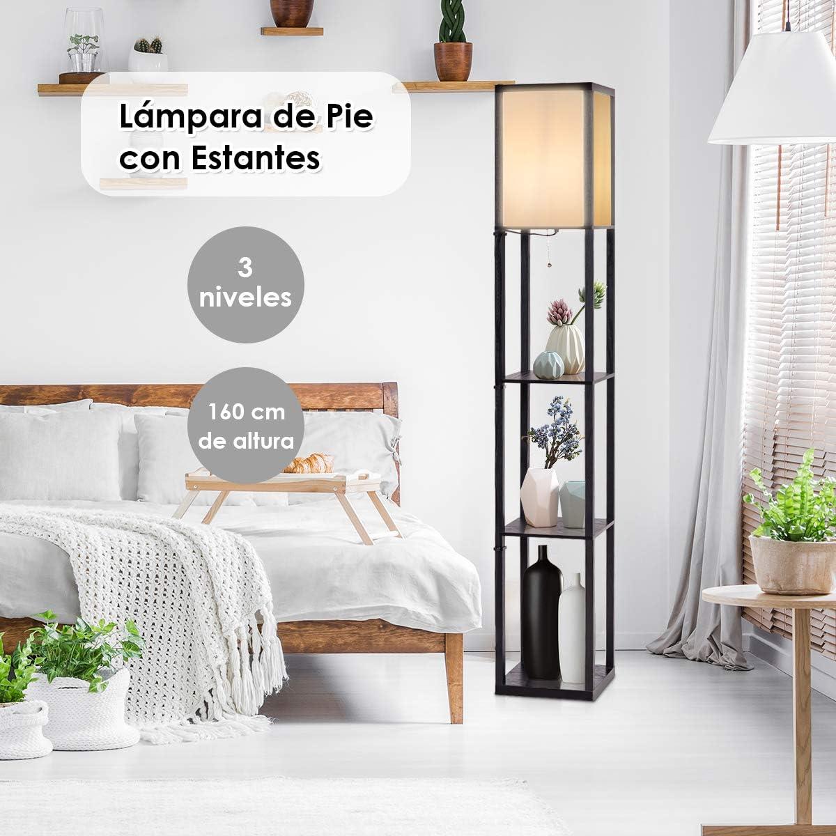 COSTWAY Estantería con Lámpara Pie con Pantalla 3 Estantes de Madera Moderna para Sofá Cama Salón Habitación Estudio Decoración: Amazon.es: Hogar