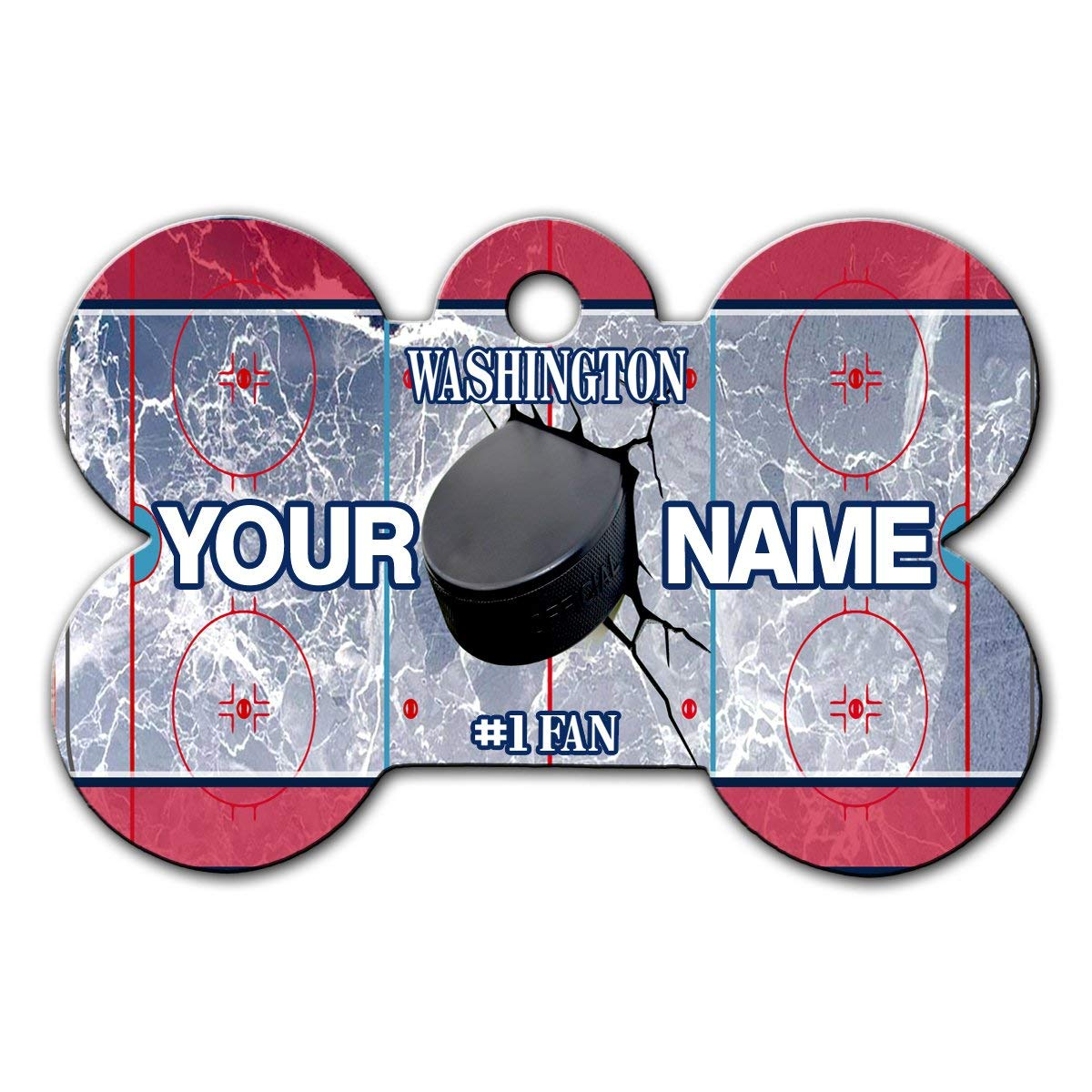 BRGiftShop Personalize Your Own Hockey Team Washington Bone Shaped Metal Pet ID Tag with Contact Information