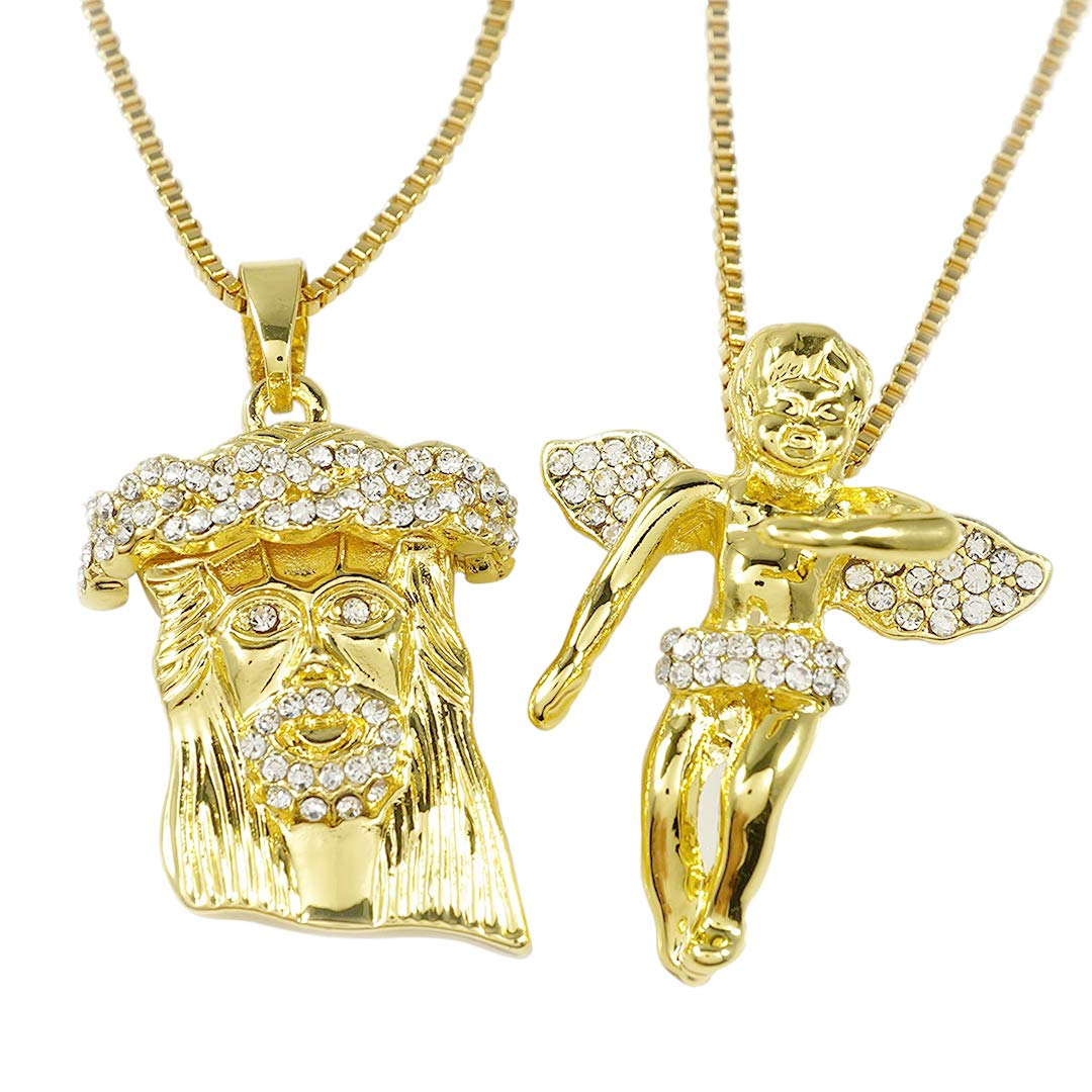 04f10207c3c Amazon.com  NIV S BLING Yellow Gold-Plated Iced Out Jesus Angel Pendant  Combo  Jewelry