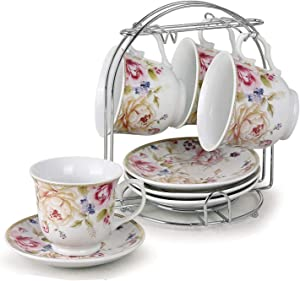 Lorren Home Trends 230-5678 Cups and Saucers, One Size, Pink