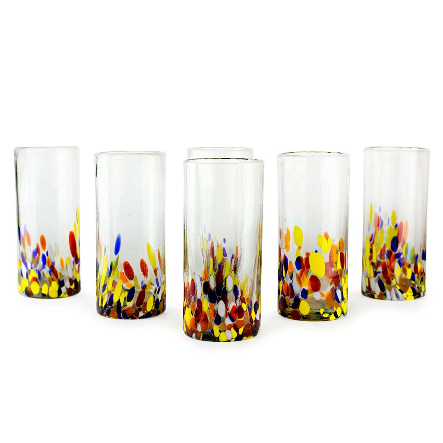NOVICA Hand Blown Multicolor Recycled Glass Cocktail Glasses, 19 oz 'Confetti' (set of 6) 77553