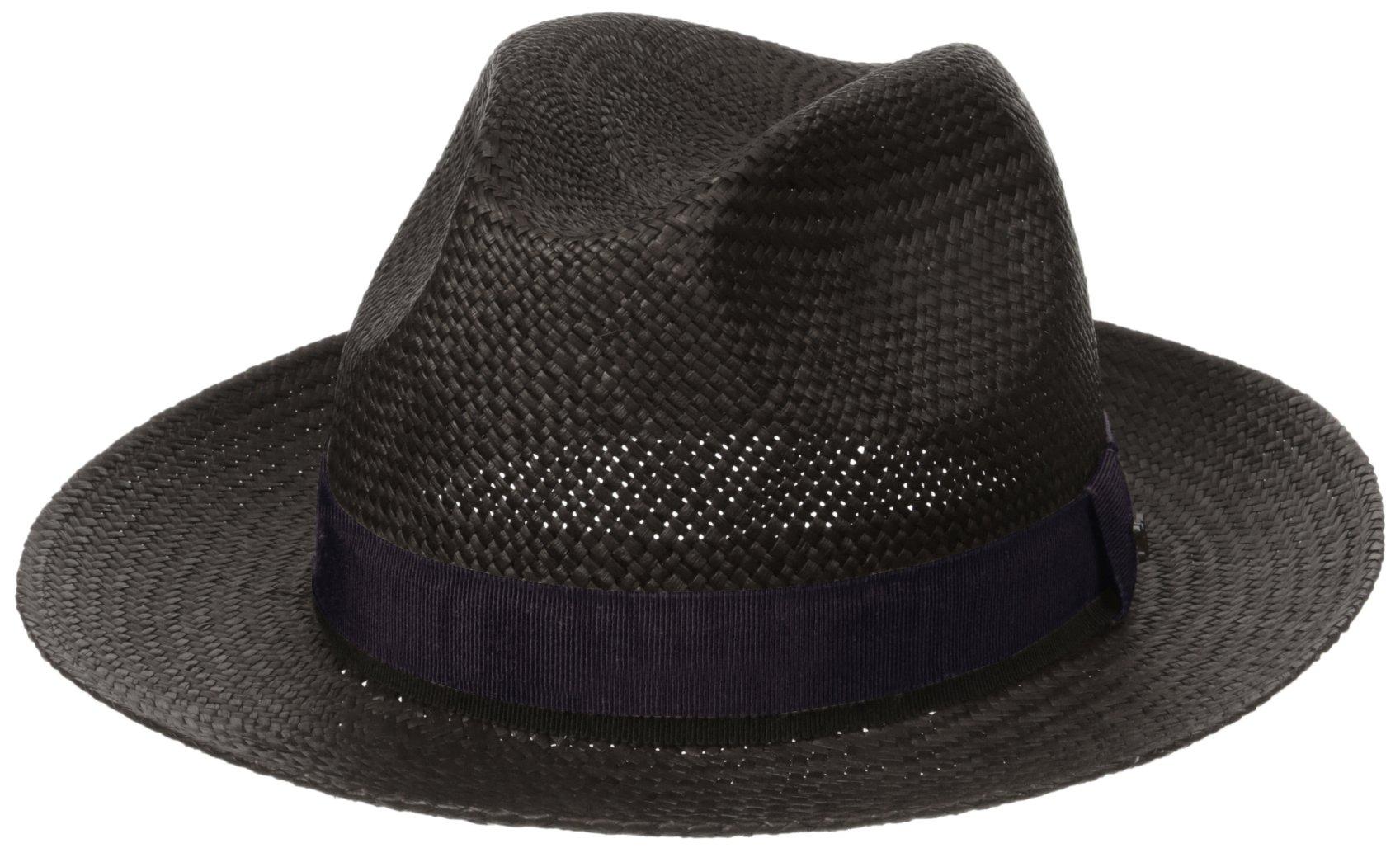Hickey Freeman Men's Straw Fedora Hat, Blue 59
