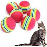 Qingsun 10pcs Pet Jouet Balle en Mousse Souple pour Chat arc-en-ciel Chaton Activité Chase Play Multicolore