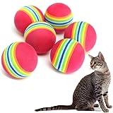 Cosanter Spielbälle für Katzen/ Regenbogenball,Runden,6 Stück/set