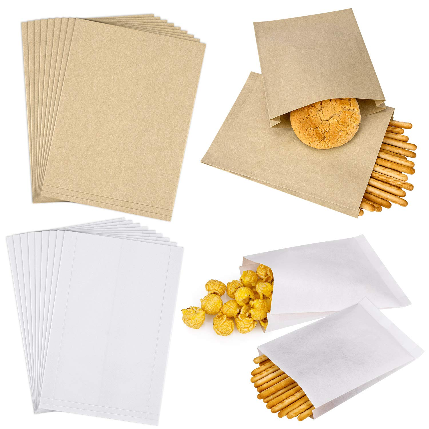 """50 PCS 4.3"""" X 5.9"""" Brown Kraft Dry Wax Paper and 100 PCS 3.9"""" X 5.8"""" White Waxed Paper Treat Bags for Sandwich, Cookies, Candies, Dessert, Chocolate"""