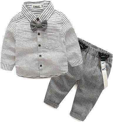 MissChild Bebé Niño Ropa Camisa de Manga Larga + Pantalones de Tirantes Conjunto de Caballeros de Otoño con Caballero Bowtie: Amazon.es: Ropa y accesorios