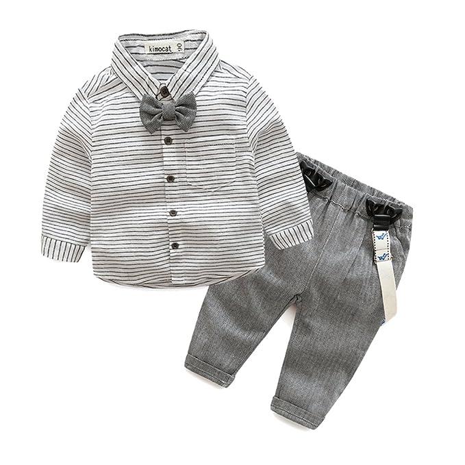 MissChild Bambino Ragazzi Manica lunga Camicie + Pantaloni Suit Con  Papillon 2pc Per Neonato Bambino Formale Vestito Del Partito Di Battesimo   Amazon.it  ... 11699cd00bf