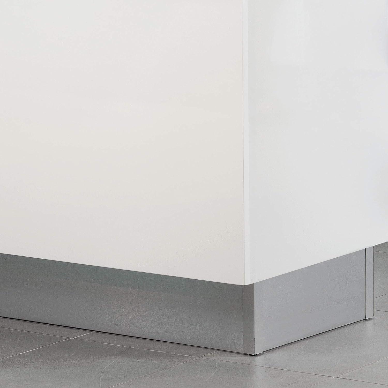 plastique anodis/é satin/é. avec accessoires union 4,7 m hauteur 100 mm Kit de plinthes de cuisine Emuca