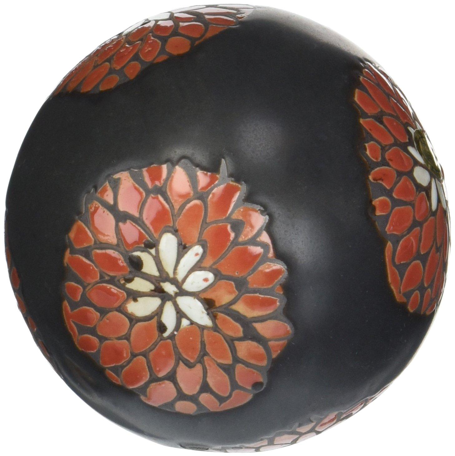 Red Flowers Black Porcelain Decorative Balls Set of 6 - ChristmasTablescapeDecor.com