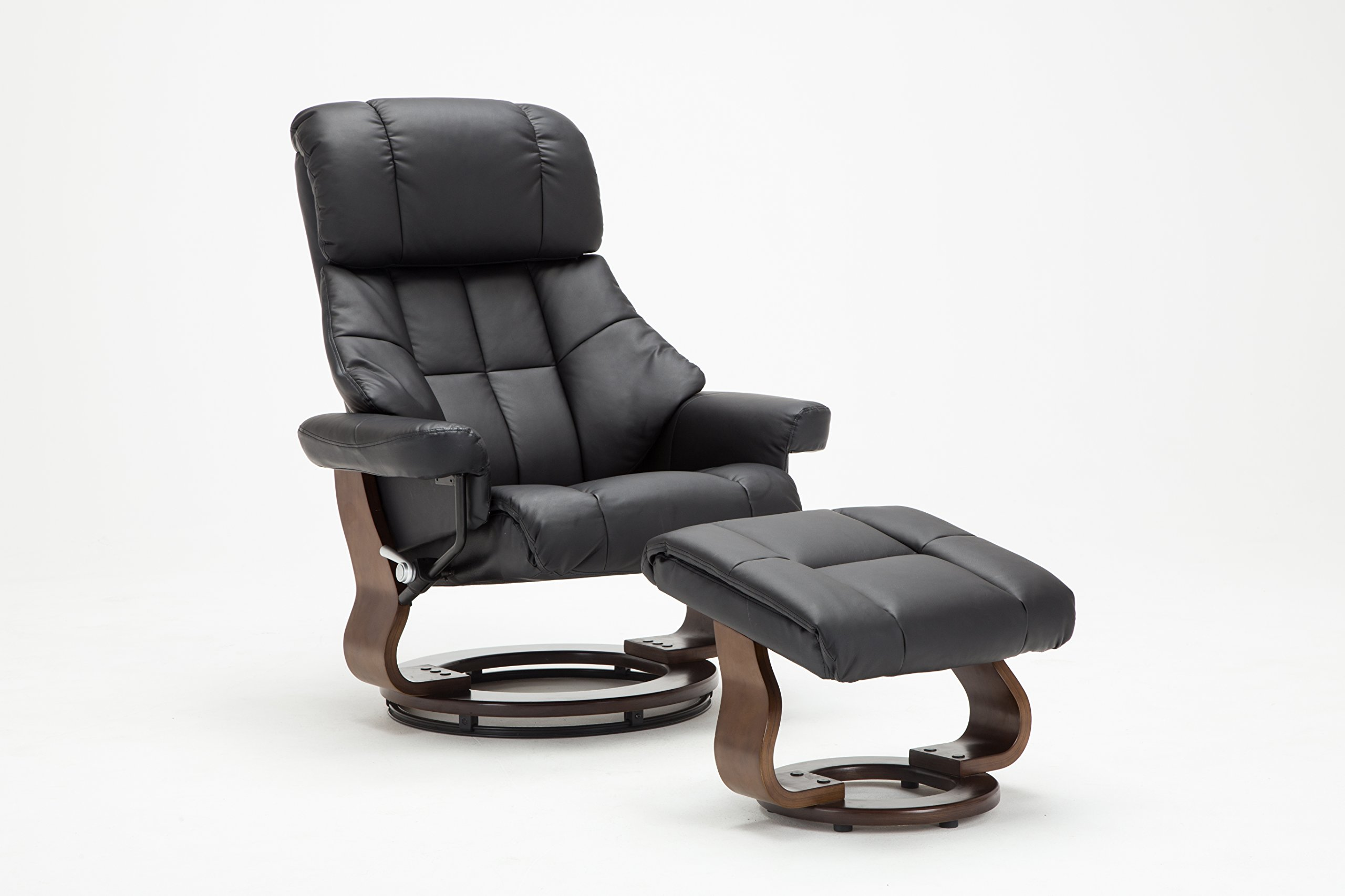 Madison Home Mid Century Modern Bonded Leather Lounge Swivel and Recliner Chair with Foot Stool Ottoman Black