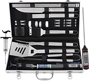 grilljoy BBQ Grill Tool Set, 24pcs Stainless Steel BBQ Accessories in Aluminum Case, Premium Complete Outdoor BBQ Utensil Gift Set for Man
