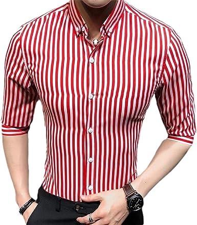 dahuo - Camisa de Vestir para Hombre, Manga Corta, diseño de Rayas Verticales Rojo Rosso L: Amazon.es: Ropa y accesorios