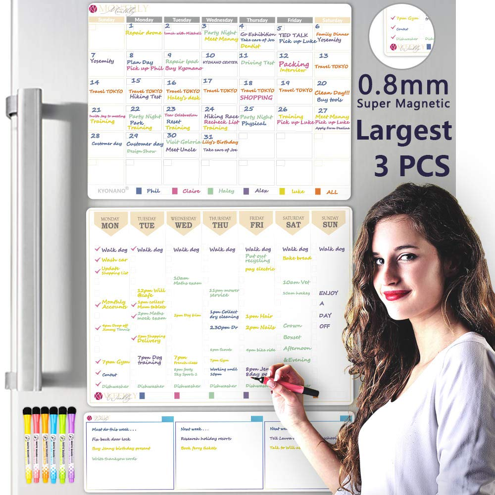 KYONANO Magnetic Dry Erase Calendar for Refrigerator 3 Pack, Calendar Whiteboard with 6 Fine Point, Non-Slip Large Family Kitchen Fridge Calendar for Monthly, Weekly, Daily Schedule
