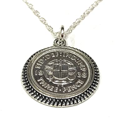 Cinch Pendant 1938 Lucky sixpence 80th Birthday plus a Sterling Silver 18in Chain uoeXKLjh